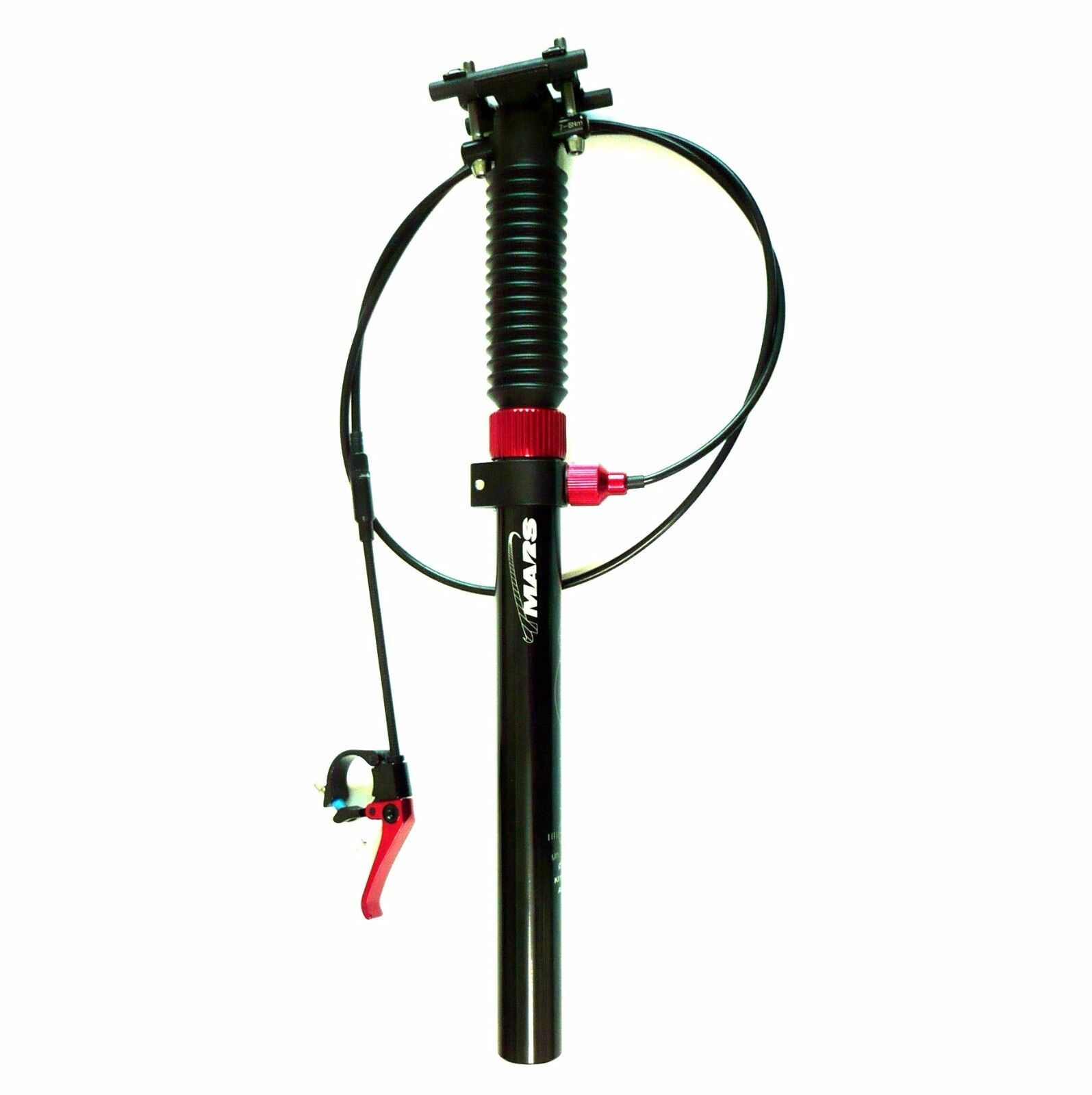 Black TMARS 419S Mechanical Drop Seatpost 445mm w// Remote 27.2// 30.9//31.6mm