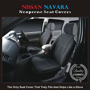 Nissan-Navara-D22-D40-550-ST-STX-RX-Waterproof-Seat-Cover-FRONT-Pair-Black