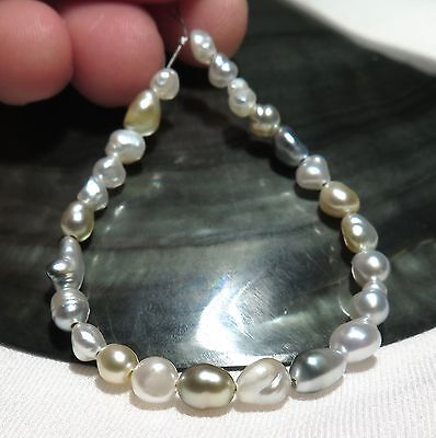 "25 AAA SOUTH SEA SILVER+ IRIDESCENT KESHI PEARLS 5"" *NATURAL COLORS"