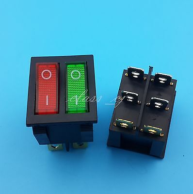 2pcs Red And Green Led Double Onoff 6pin Rocker Switch Panel Mount