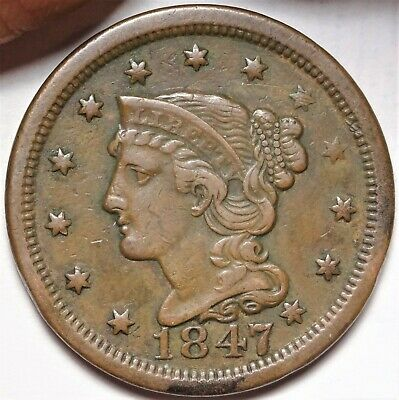 1847 Braided Hair Large Cent Extremely Fine EF XF Early Copper 1c Coin