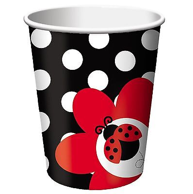 12 LADYBUG BIRTHDAY CUPS~also available BALLOONS, PLATES, TABLE COVERS, NAPKINS