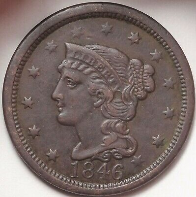 1846 N-14 Tall Date Braided Hair Large Cent Choice Extremely Fine Copper 1c Coin