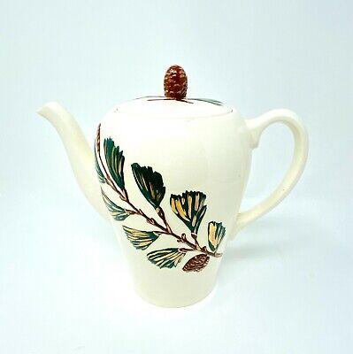 Vintage Mid Century Modern Ceramic Coffee Pot Pine Cones Gold Cream Green