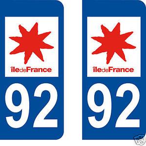 2 stickers autocollants plaque d 39 immatriculation departement 92 hauts de seine ebay. Black Bedroom Furniture Sets. Home Design Ideas