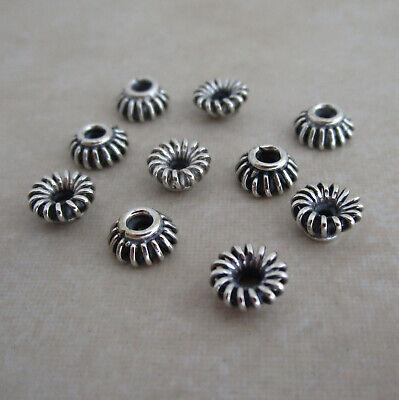 8 sterling silver bead caps 6mm Bali handmade oxidized coil wire -