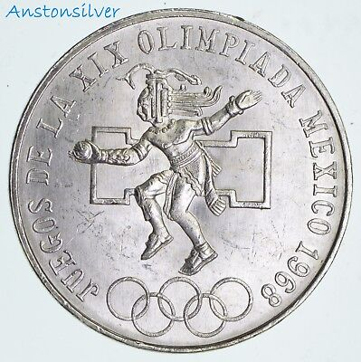 1968 Mexican Silver 25 Pesos Olympics  5209 Silver Coin