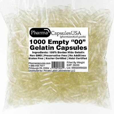 1000 EMPTY GELATIN CAPSULES SIZE 00 BULK Kosher Halal 1,000 Gel Caps Pure