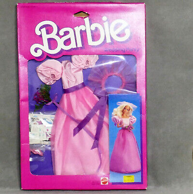 Barbie 1980s Boxed Clothes WEDDING PARTY Bridesmaid Gown Dress Long Pink NRFB