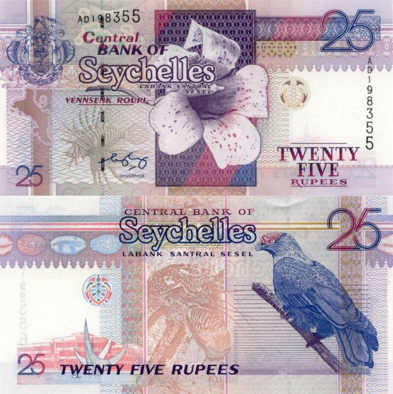 Seychelles 25 Rupees (1998) - Parrot/Coconut Crab/p37 Signature 1 UNC