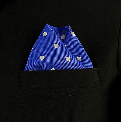 "Men's Pocket Square Royal Blue Polka Dot 10"" Dress Suit Handkerchief Hanky New"