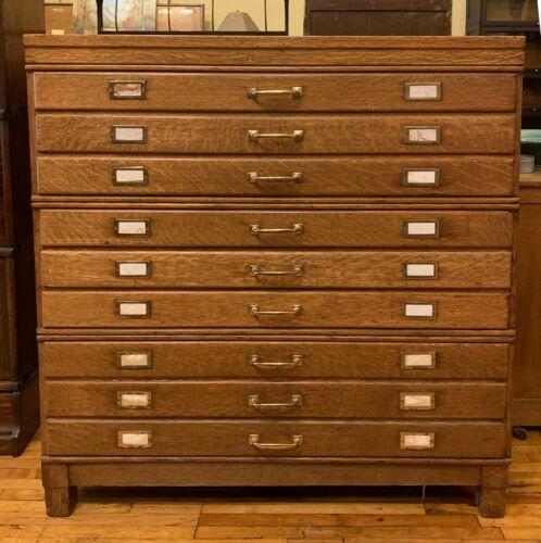 Antique Oak Flat File