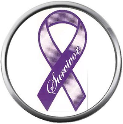 Purple For Cancer (Cancer Purple Survivor Ribbon Hope For All Cancer Support Cure Awareness 18MM -)