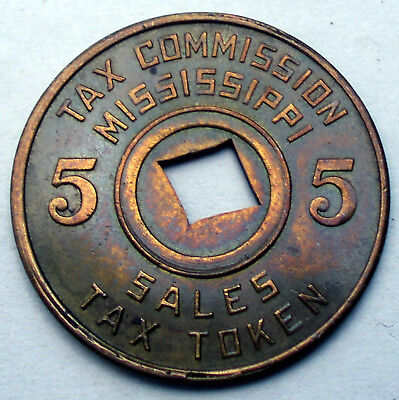 US, TAX COMMISSION MISSISSIPPI 5 CENTS Token 22.75mm 3g Brass H10.1