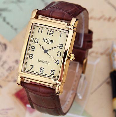 Mens Watches Gold Rectangular Dress Watch Leather Strap MCG-BRN