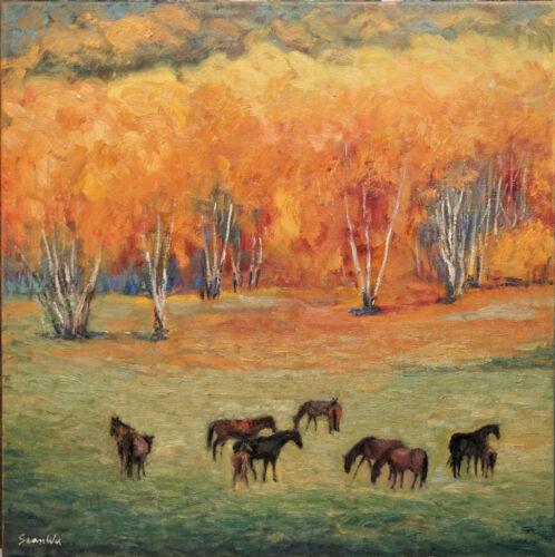"Sean Wu, Original 18x18"" oil horses on 1.5 "" depth canvas, ready to hang!"