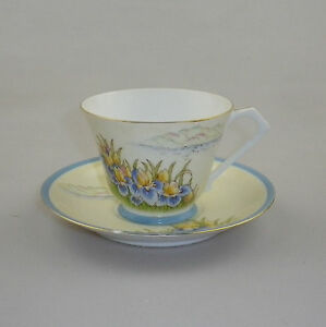 Vintage Noritake Art Deco Cup & Saucer - Irises, Island and Lake