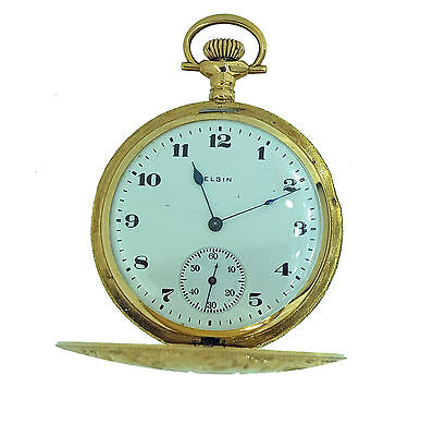 Elgin Vintage Antique Pocket Watch in Solid 14KT Yellow Gold