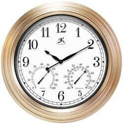Infinity Instruments Copper Indoor Outdoor 19 inch Wall Clock Temp/Humidity
