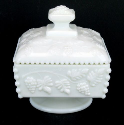Westmoreland Beaded Edge Grape Footed Square Compote Candy Dish with Lid