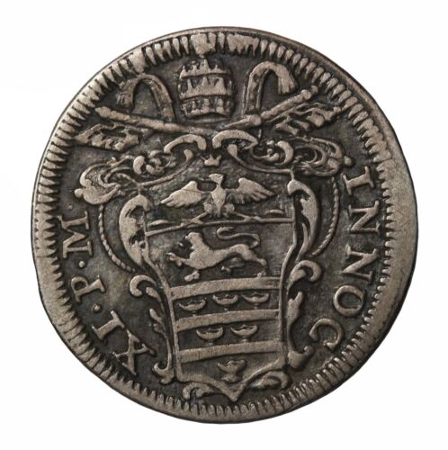 1685 Vatican Papal States Italy Pope Innocent XI AR Silver 1/2 Grosso