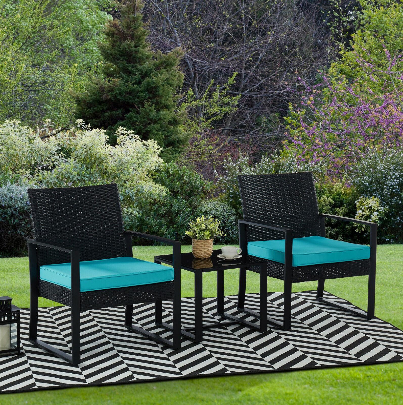 Garden Furniture - 3pc Wicker Rattan Patio Outdoor Furniture Conversation Sofa Bistro Set Garden