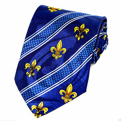 Gold Fleur Di Lis Dress Mens Necktie Fashion Mardi Gras Gift Blue Neck Tie New