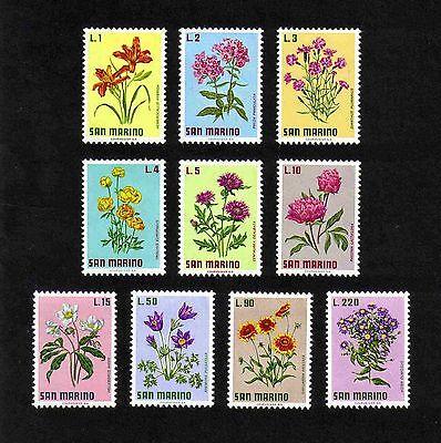 San Marino 1971 Flowers complete set of 10 values (SG 919-928) MNH