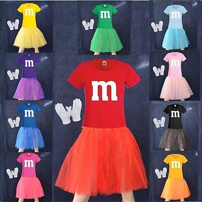 M&M Fan Kostüm Gruppenkostüm Tütü Tutu T-Shirt Damenshirt Karneval Fasching (Gruppen Kostüme)