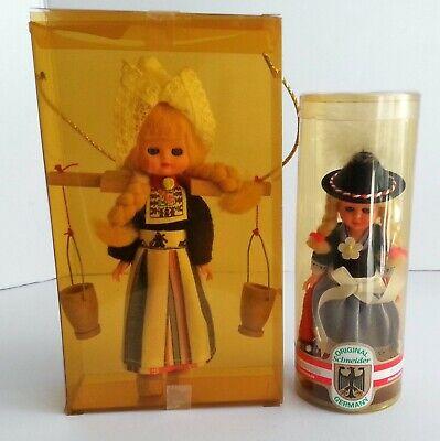 Lot of 2 Dutch Milk Maid Vintage Doll & German Girl Souvenir Schneider