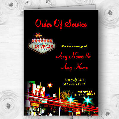 Las Vegas Strip Personalised Wedding Double Sided Cover Order Of - Las Vegas Wedding Decorations