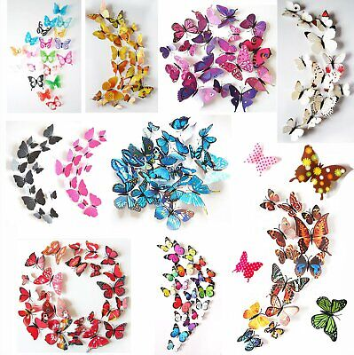 24Pcs(2 Sets) 3D Butterfly Wall Stickers Magnetic Decals Home Room Decor US](Decor Home)