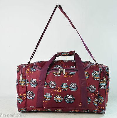 Burgundy owl travel/weekend/overnight/gym/hospital bag/holdall/duffle/bag