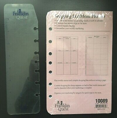 Nip Franklin Covey Planner Classic Refill Shopping Listmenu And Ruler