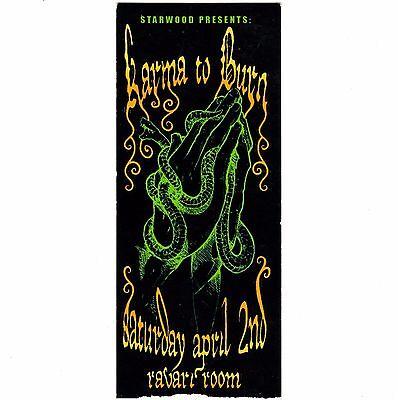 KARMA TO BURN Concert Ticket Stub COLUMBUS OHIO 4/2/11 RAVARI ROOM