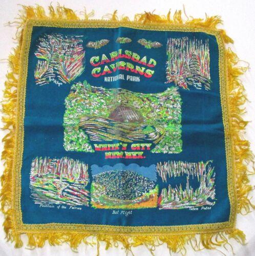 "WWII era velvet pillow cover souvenir CARLSBAD CAVERNS New Mexico 16"" ᵐ z2"