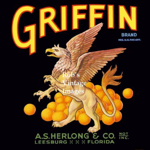 Leesburg Florida Griffin Brand Orange Citrus Fruit Crate Label Art Print