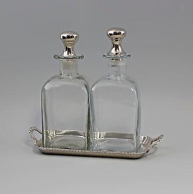 77387  Karaffen-Set Glas vernickelt silberfarben Flasche Karaffe