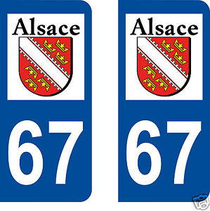 67 alsace logo type autocollant plaque immatriculation. Black Bedroom Furniture Sets. Home Design Ideas