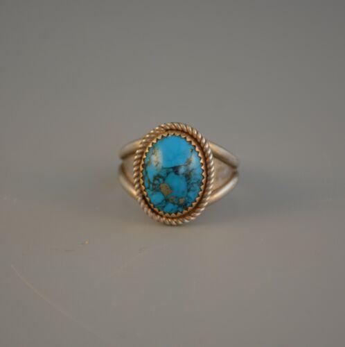 Vintage Southwest Turquoise Silver Ring - Serrated 14k Gold Bezel - Size 10 3/4