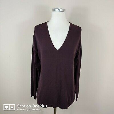 T Alexander Wang Long Sleeve V-Neck Tee Top Brown Cotton Small S