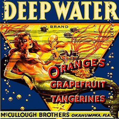 Okahumpka Deep Water Florida Mermaid Orange Fruit Crate Label Art Print