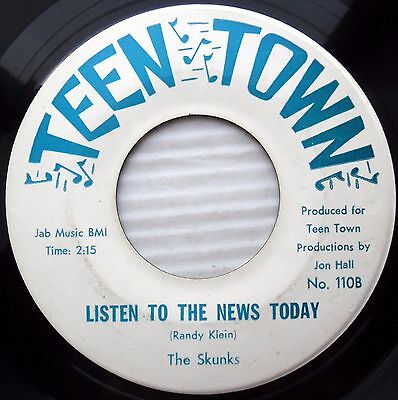 Skunks  Listen To The News Today Doing Nothing 1969 Garage 45 Teen Town E4677