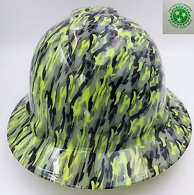 Hard Hat Full Brim Custom Hydro Dipped Osha Approved New Wave Green Camo Sick