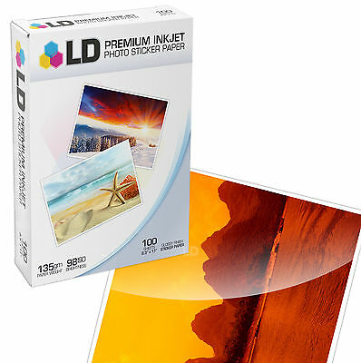 LD Products Glossy Inkjet Photo Sticker Paper 8.5X11 / 100 Sheets Total