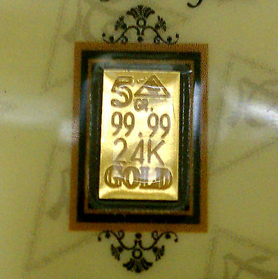 ACB 24K GOLD 5GRAIN SOLID BULLION MINTED BAR 99.99 FINE Au With COA +