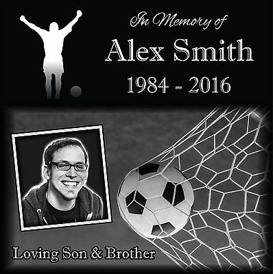 """Personalized Human grave marker Stone Memorial 12"""" x 12"""" Soccer Theme"""