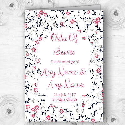 Dusty Coral Pink And Navy Blue Floral Wedding Double Cover Order Of - Pink And Navy Wedding