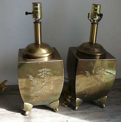 2 Brass Table Lamps Asian Etched Scenes Chinoiserie Hollywood Regency New Wires