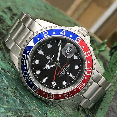 Steinhart OCEAN 1 One GMT Automatic Wrist Dive Watch Pepsi Bezel 42mm